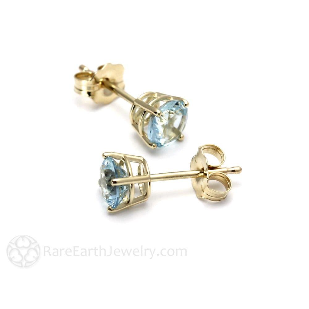 14k aquamarine earrings studs 5mm gemstone stud earrings 14k