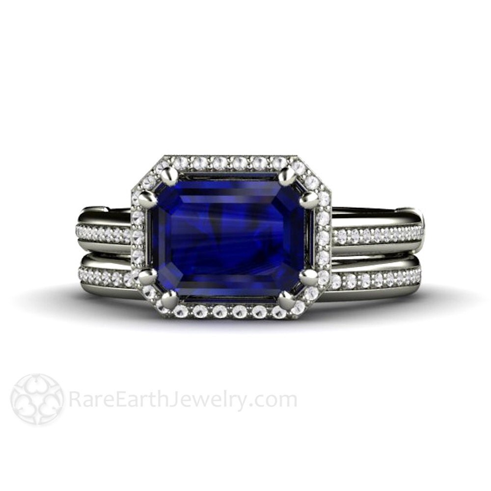 east west sapphire engagement ring wedding ring zoom