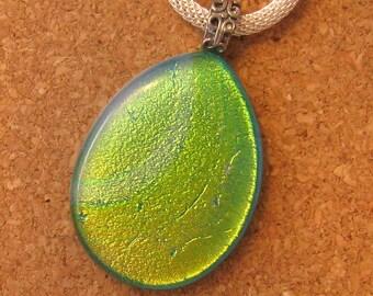 Green Dichroic Pendant - Fused Glass Pendant - Dichroic Jewelry - Fused Glass Jewelry - Dichroic Necklace