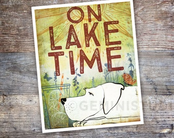 On Lake Time dog art illustration In Awe of Paws™ graphic art print by stephen fowler