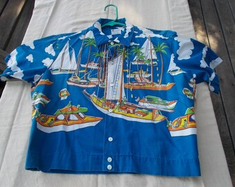50s Shirt Jac Sailing Boats and Yachts Washington Dee Cee Classic sz Medium to Large