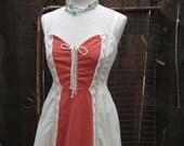 Gunne Sax 70s Corset Lace Sundress Long vintage Dress Peach Velvet Ivory Cotton vintage wedding dress M
