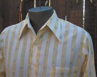 60s vintage Shirt Van Heusen Stripe Yellow White dobby cotton blend 60s Mod shirt M