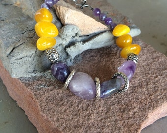 Purple and Yellow Gemstone Bracelet featuring Amethyst and Golden Yellow Agate Nugget Beads and a Gunmetal Clasp