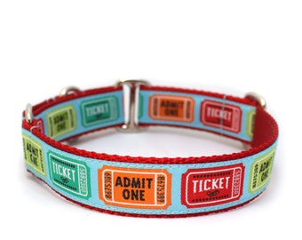 """1"""" Dog Collar Ticket to Ride buckle or martingale collar"""