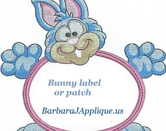 BUNNY Quilt Label machine embroidered