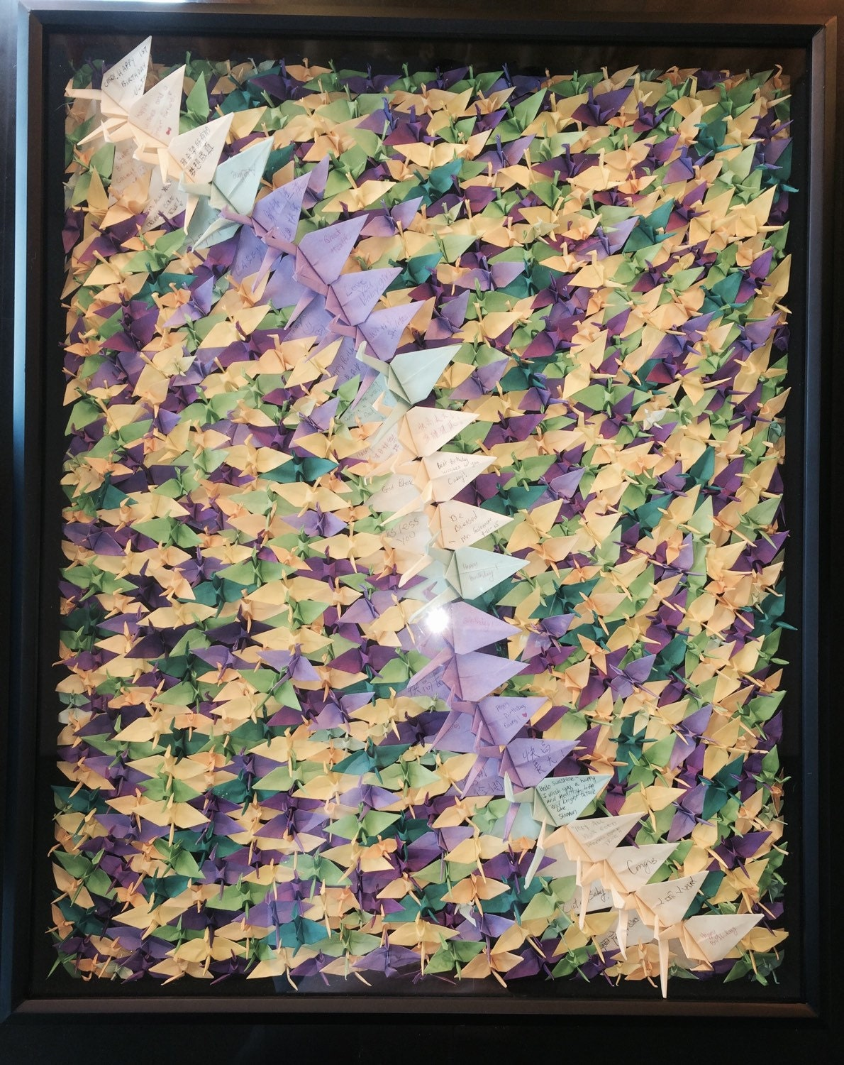 1000 origami cranes art in glass frame by origamibywingy for 1000 paper cranes wedding decoration