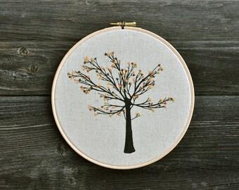 Sweet Flower Tree I - embroidery hoop art