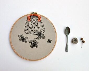 Lady Mint IX - original mixed media hoop art