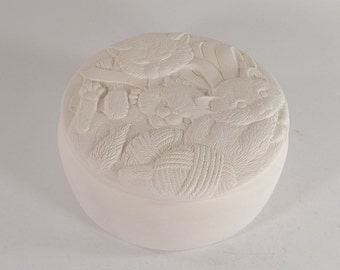 Round Kittens Box Ready to Paint Ceramic Bisque