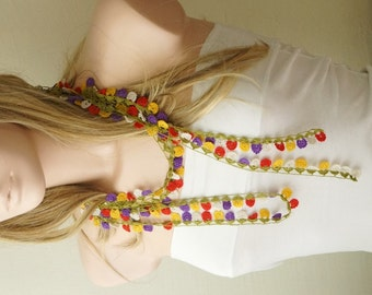 My Flower DREAM- Lilac,red, yellow and green Lace flower Necklace, Lariat, Bracelet - Turkish lace Work