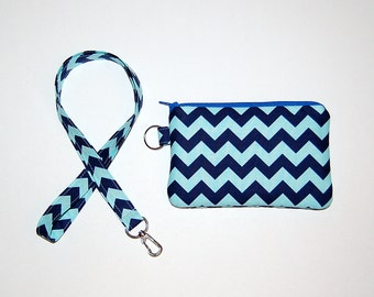 Chevron (Aqua) - Wallet Zipper Pouch with Removable Lanyard - Cell Phone Pouch / iPhone Pouch / ID Card Holder / Coin Purse