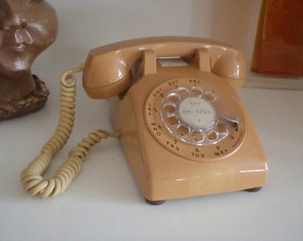Vintage Rotary Telephone -  ITT Desk Phone - 1970s - Free Shipping
