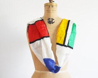 Vera silk  scarf-  Mondrian silk scarf - ANNE  Klein  silk scarf -Ann Klein For VERA scarf companies made in Japan