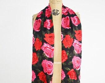 vintage Bill Blass silk scarf floral long scarf