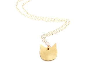Minimalist Small Cat Necklace - Gold or Silver