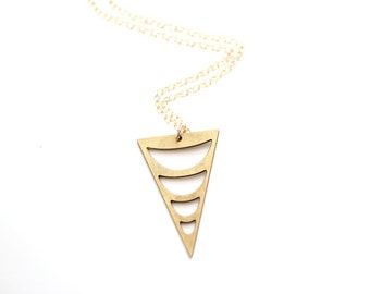 Tribal Crescent Cutout Triangle Necklace - Brass, Gold Fill or Sterling Silver