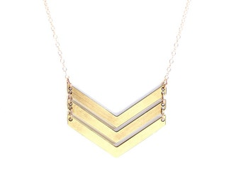 Geometric Triple V Arrow Necklace - Brass, Gold Fill or Sterling Silver