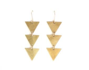 Geometric Triple Triangle Earrings - Gold or Silver