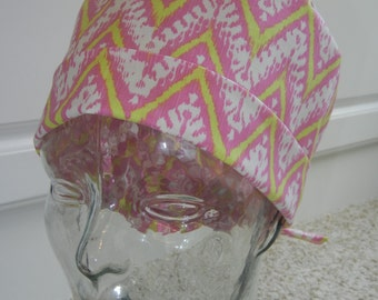 Tie Back Surgical Scrub Hat with Pink Yellow Chevron Zig Zag