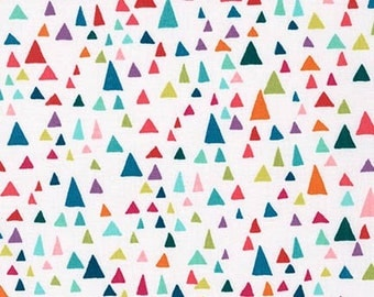 In the Bloom fabric by Valorie Wells for Robert Kaufman and Fabric Shoppe, Triangles in Multi, You Choose The Cut. Free Shipping Available
