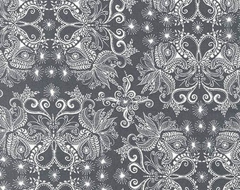 In the Bloom fabric by Valorie Wells for Robert Kaufman , Blooming Damask in Gray, You Choose the Cuts. Free Shipping Available