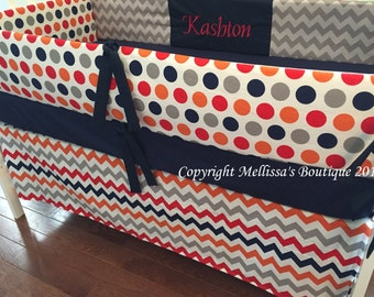 Custom Navy Gray Orange & Red Chevron Dots Modern Boutique Crib Bedding Bumper and Crib Skirt 2-Piece Set CHOOSE and CUSTOMIZE