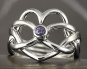Natural tanzanite heart shape puzzle ring in sterling silver - heart infinity knot