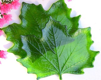 Fused Glass Large Maple Leaves Moss Leaf Plate Decorative Dish Set of Two