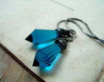 London Blue Crystal Dagger Earrings Sterling Wire Wrapped Modern Statement Jewelry Geometric Jewelry Summer Gifts For Her