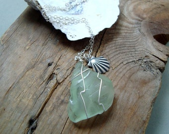 SALE Mint Sea Glass Necklace With Silver Scallop - Beach Glass Jewelry Summer Fashion Beachy Upcycled Sterling Silver Wire Wrapped