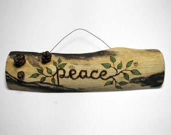 PEACE Rustic Organic Natural Sycamore Branch Small Wooden Sign by Tanja Sova
