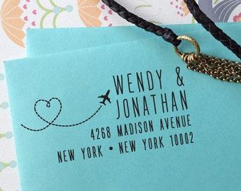 SAVE the DATE Stamp, Custom Save The Date Stamp, Self Inking Stamp, Custom Rubber Stamp, save the date destination wedding, airplane stamp10