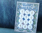 Vintage Buttons, Mother Of Pearl, Shell Buttons,  Set of 12, Original Card, Flower Graphics, Made In USA