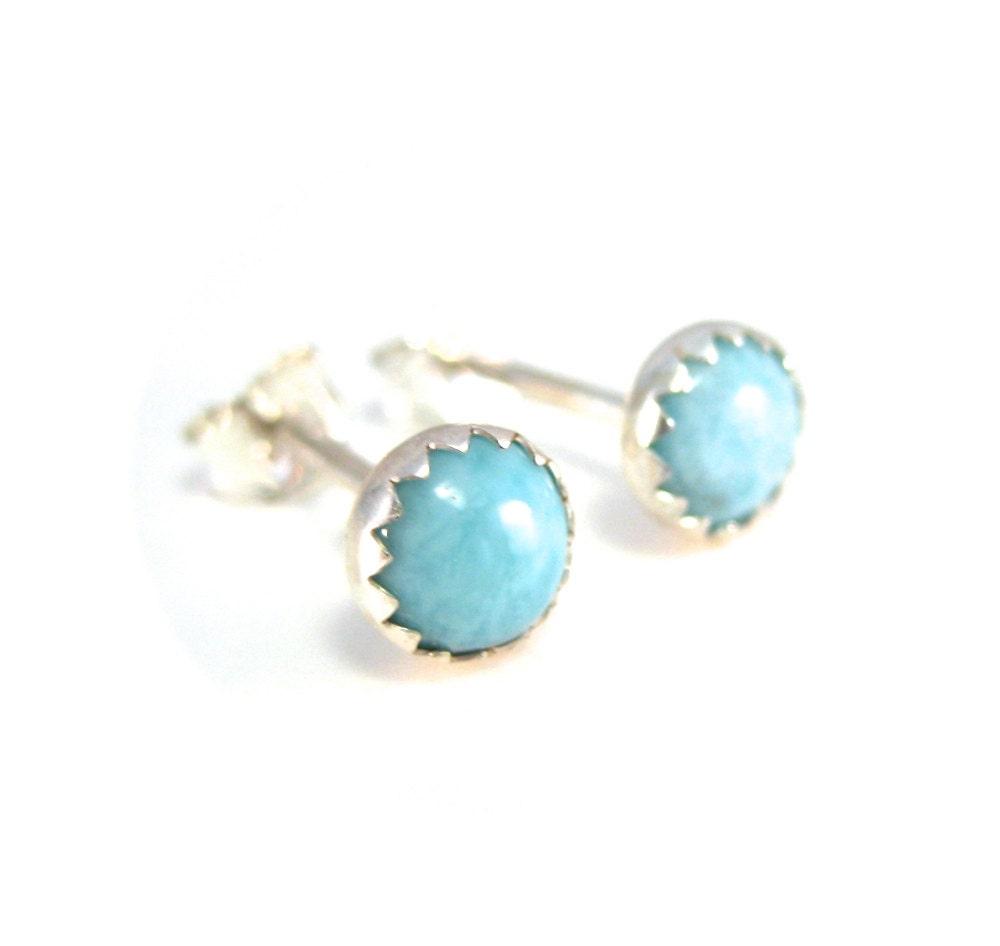 larimar stud earrings 5mm light blue gemstone studs