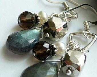 Artisan Handcrafted Labradorite Pyrite Fresh Water Pearl Smokey Quartz Sterling Silver OOAK Boho Hippie Gift for Her Dangle Earrings