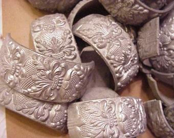 12 pc lot white metal unplated bracelet parts 1950s