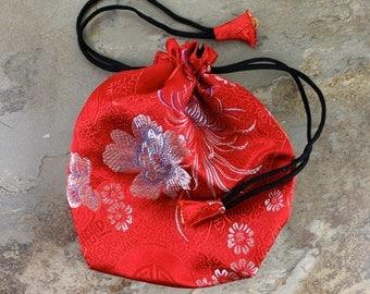 Red Silk Drawstring Mala Bag