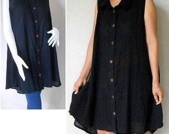 Black Soft Sheer Cotton Sleeveless Tunic Dress Blouse (H)