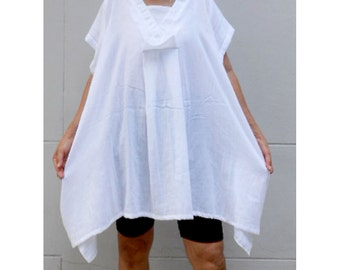 Custom Made Boho Tunic Chic Short White Cotton Comfy Loose Summer Bluse one fit all most S-L (H)