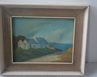 Vintage Seascape Landscape Cottage Oil Painting in Original Frame Mid Century 1950's Signed