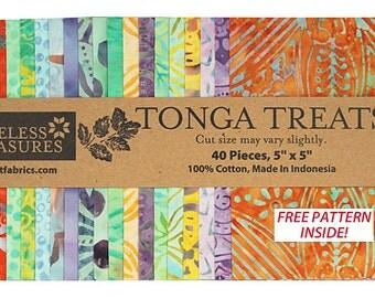 "SALE 50% Off SQ46 Timeless Treasures TAHITI BATIKS Precut 5"" Tonga Treat Minis Fabric Cotton Quilting Squares"