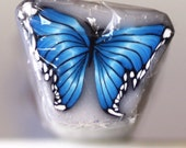 Medium Bllue Butterfly Cane, Polymer Clay Flutterby, Raw Unbaked Clay Cane