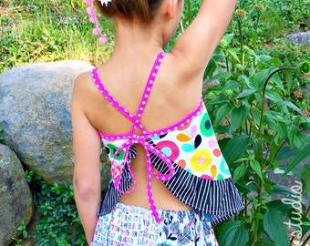 Carefree Cutie -- Open Back Spaghetti Strap Top With Ruffles (Mod Blooms)