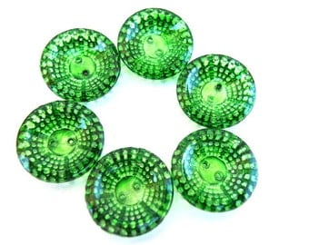 5 Antique vintage green glass buttons dots design hand painted18mm Czech