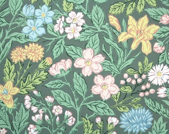 1940s Vintage Wallpaper by the Yard -  Vintage Floral Wallpaper Pink Yellow and Blue Flowers on Green
