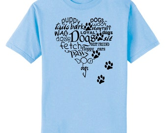 Heart Full Of Dogs and Paws Prints Art T-Shirt Youth and Adult Sizes