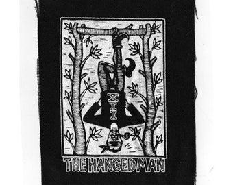 Tarot card sew on punk patch - Hanged Man Tarot Screen Print on Fabric