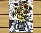 Sunflowers, Linocut Print, Block Print, Linoleum Print, Relief Art Print, Lino Cut Print, Art Print, Wall Art, Sale, Gift, Art, Gift Idea