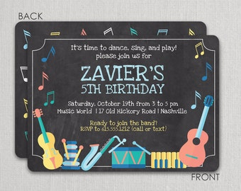 Music Party Invitation, Musical Instruments Party, Dance Party Invitation